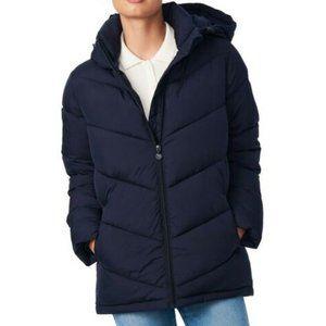 Bernardo Womens Hooded Puffer Coat XL Navy Blue